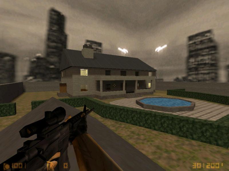 На низком разрешении на карте cs_mansion часто видно части тел врагов сквозь стену