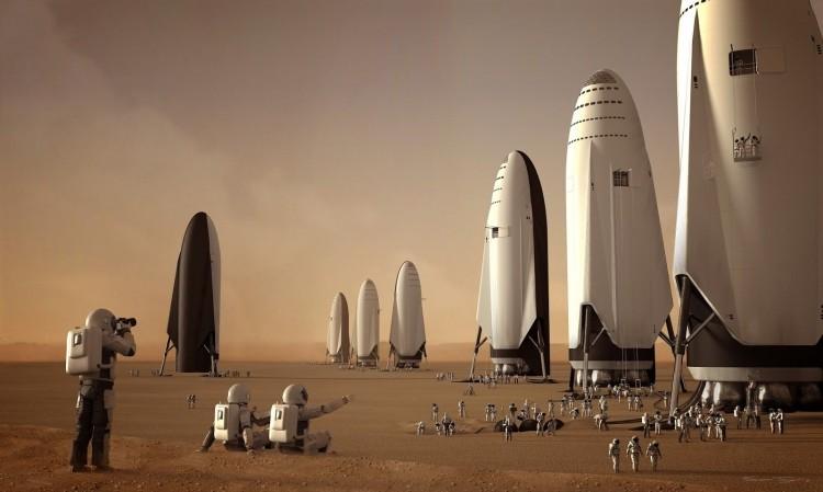 Флот космических кораблей SpaceX Starship приземлился на Марсе, художник Сэм Тейлор (Sam Taylor)