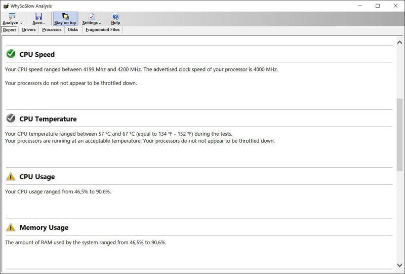 Рабочее окно программы WhySoSlow.