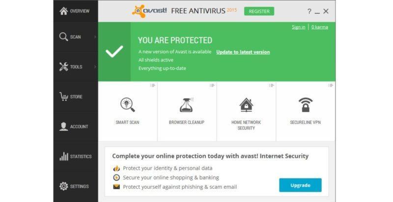 №2. Основное окно Avast Free Antivirus