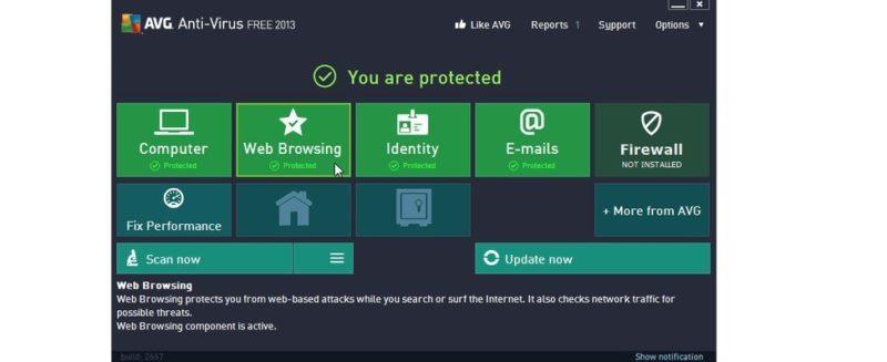 №4. Основное окно AVG Free Antivirus