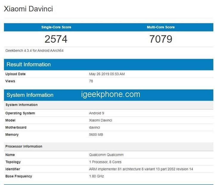 xiaomi new phone appeared in geekbench codenamed da vinci 1