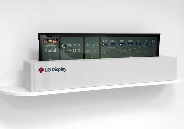Опытный телевизор LG со свёрнутым экраном OLED (в свёрнутом состоянии)